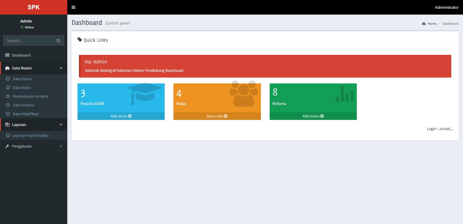 Sistem Penunjang Keputusan (SPK) dengan Metode SAW Berbasis Website