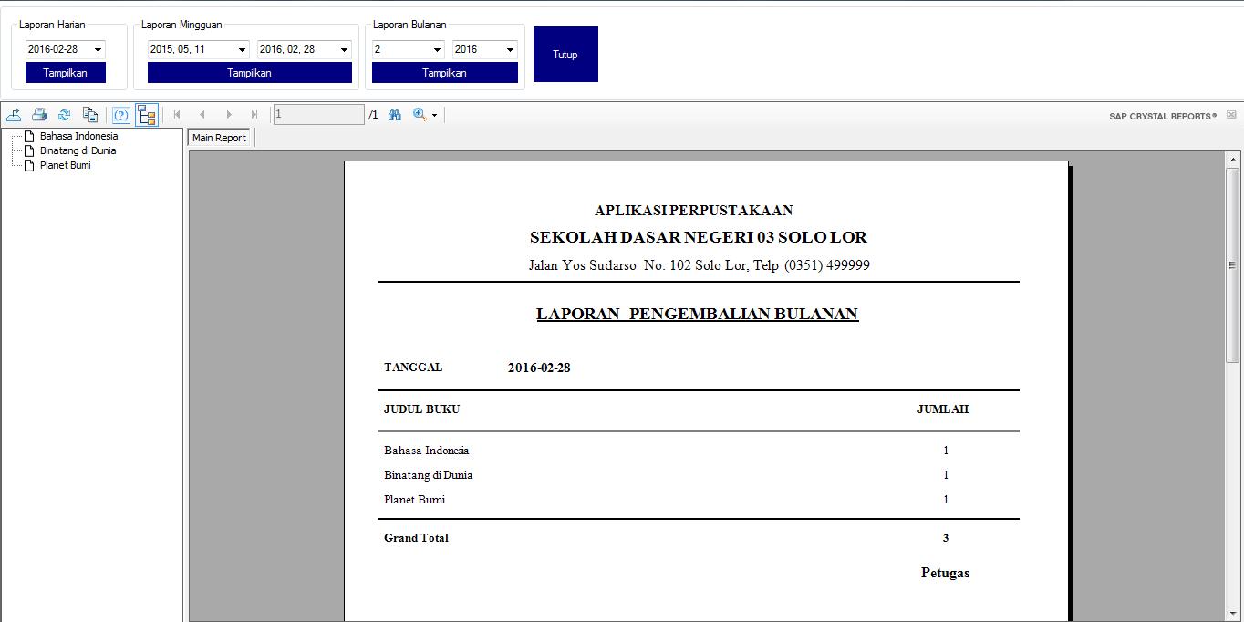 Aplikasi Perpustakaan dengan Visual Basic Net lengkap dengan laporan