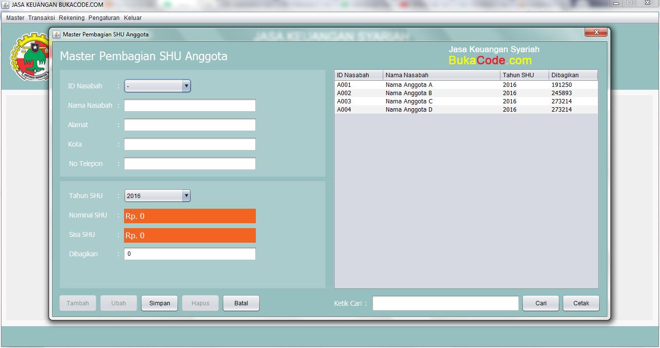 Aplikasi Koperasi v1 Berbasis Dekstop Java Netbeans